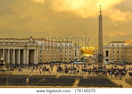 St. Peter's Square Vatican City. it's a large plaza located directly in front of St. Peter's Basilica in the Vatican City the papal enclave inside Rome Italy