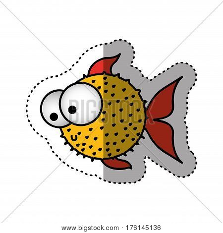 sticker colorful silhouette blowfish aquatic animal vector illustration