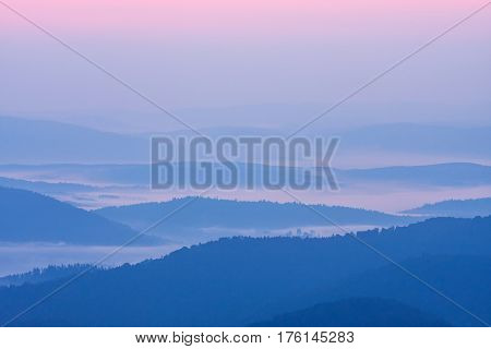 Foggy Landscape In Bieszczady Mountains, Poland, Europe