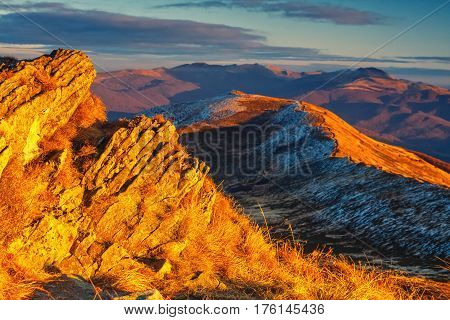 Autumn Mountain Landscape At Sunset With Red Grass