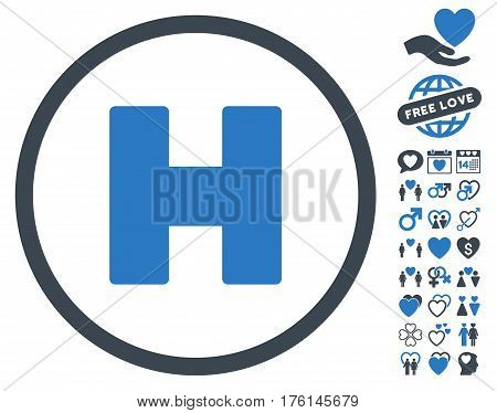 Helicopter Landing pictograph with bonus love design elements. Vector illustration style is flat iconic smooth blue symbols on white background.