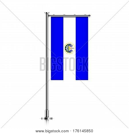 El Salvador vector banner flag hanging on a silver metallic pole. El Salvador vertical flag template isolated on a white background.