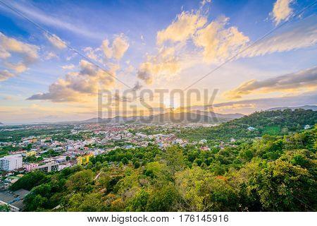 Landscape at Khao Rang Viewpoint of Phuket city in sunset Phuket province Thailand
