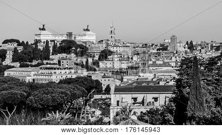 Cityscape of Rome in Italy with Altar of the Fatherland in Black and White