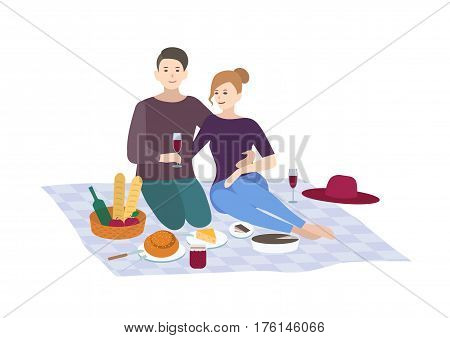 Couple together outdoor relax. people recreation scene in flat style. Picnic, vector illustration.
