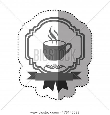 sticker gray scale border heraldic decorative ribbon with cup and smoke coffee vector illustration