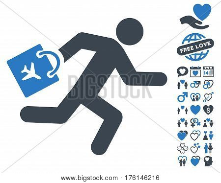 Late Airport Passenger pictograph with bonus valentine pictures. Vector illustration style is flat iconic smooth blue symbols on white background.