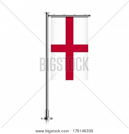 England vector banner flag hanging on a silver metallic pole. England vertical flag template isolated on a white background.