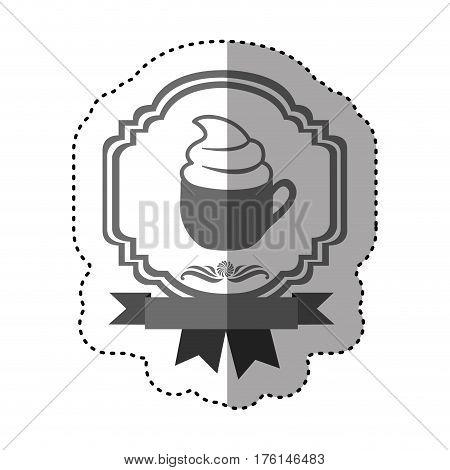 sticker gray scale border heraldic decorative ribbon with cup of cappuccino with cream vector illustration