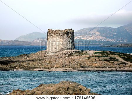 very nice view of aragonese tower in sardegna