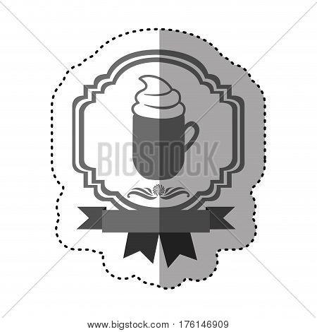 sticker gray scale border heraldic decorative ribbon with mug of cappuccino with cream vector illustration