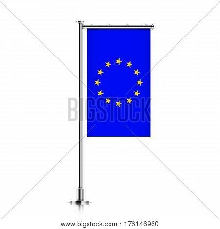 Vector banner flag of European Union hanging on a silver metallic pole. European Union vertical flag template isolated on a white background.