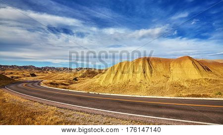 Scenic Road In Badlands National Park, South Dakota, Usa