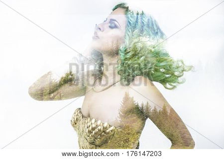 Eco Deity, beautiful woman with green hair in golden goddess armor. Fantasy warrior