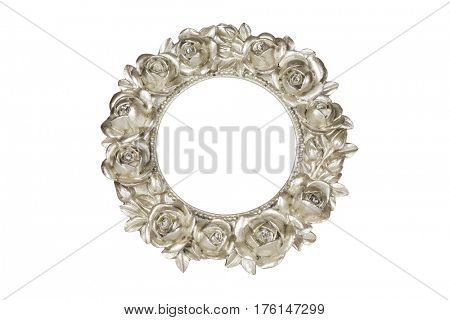 Champagne oval picture frame with rose decor, clipping path included.