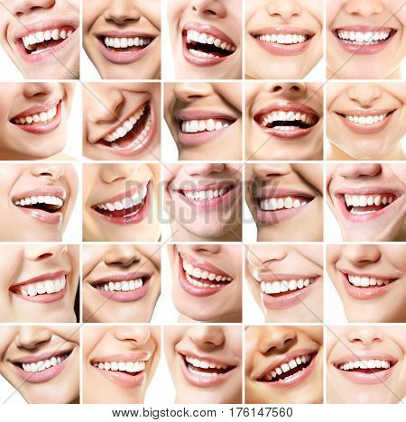 Beautiful smiles set. Perfect wide smiles with great healthy white teeth, isolated over white background. Dental care, whitening, stomatology, restoration of teeth, prosthetics, oral hygiene concept.