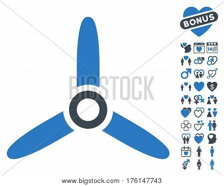 Three Bladed Screw icon with bonus lovely design elements. Vector illustration style is flat iconic smooth blue symbols on white background.