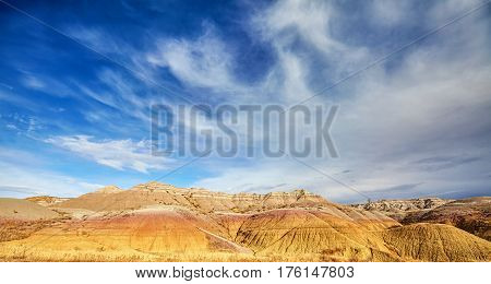 Badlands National Park Panoramic View, Usa.