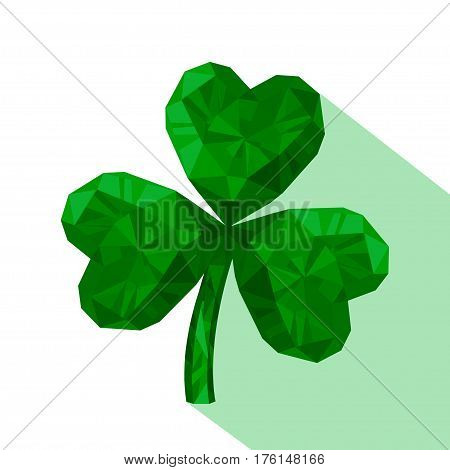 Vector illustration of crystal emerald Shamrock. Gem jewelry three-leaved clover. St. Patrick's Day isolated flat icon.