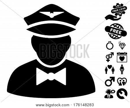Airline Steward icon with bonus valentine symbols. Vector illustration style is flat iconic black symbols on white background.