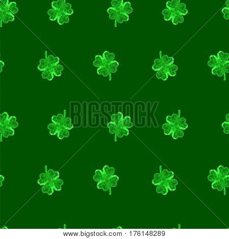 Vector crystal gem jewelry Four-leaf lucky clover. Symbol of fortune seamless vector pattern on green background.