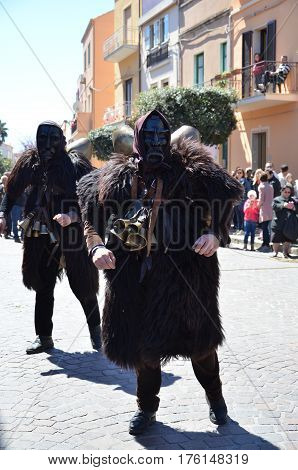 Sardinia, Italy: the old Mamuthones' mask .
