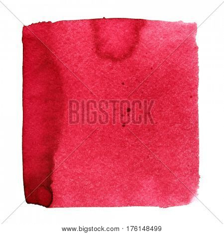 Red watercolor square. Abstract background with paper texture. Element for your design