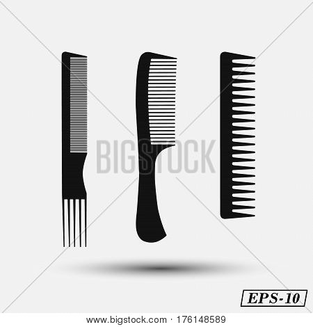 Set silhouette comb , barber comb, black plastic comb vector illustration