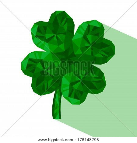 Crystal gem jewelry Four-leaf lucky clover. Symbol of fortune isolated on white background.