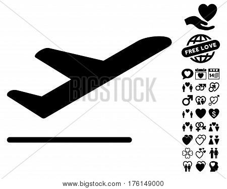 Airplane Departure pictograph with bonus love pictograms. Vector illustration style is flat iconic black symbols on white background.