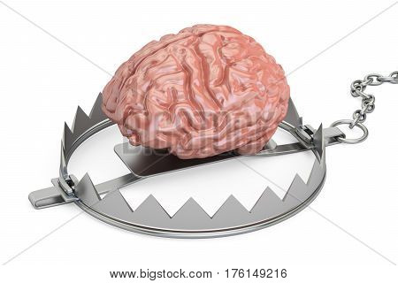 Brain in bear trap 3D rendering isolated on white background