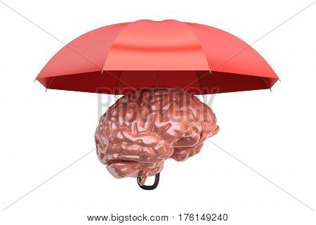 Brain with umbrella 3D rendering isolated on white background