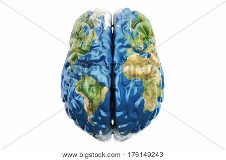 Earth brain concept 3D rendering isolated on white background