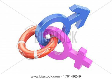 Family Assistance Concept Gender Symbols with Lifebuoy. 3D rendering