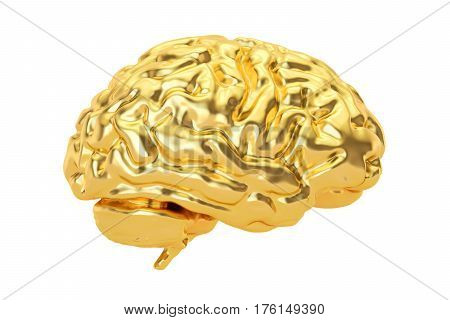 Golden Brain 3D rendering isolated on white background