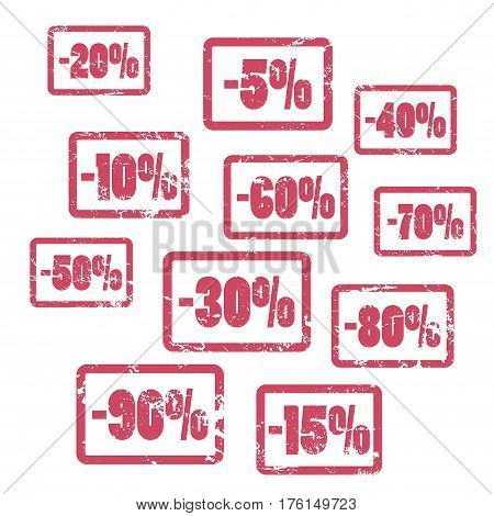 Minus percents red vector stamps. Sale or discount percent stamp icons set. Red rubber stamps vector illustration on white. Vintage rough texture with discount percent for price tags and shop labels