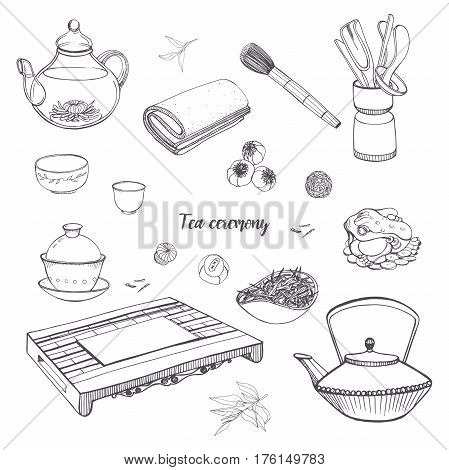 Teapot, bowls, gaiwan. Set tea ceremony with various traditional tools. Contour hand drawn illustration.