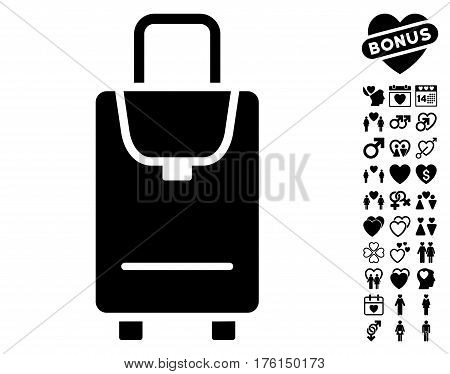 Carryon icon with bonus lovely design elements. Vector illustration style is flat iconic black symbols on white background.