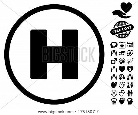 Helicopter Landing icon with bonus dating design elements. Vector illustration style is flat iconic black symbols on white background.