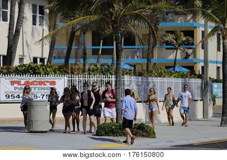 FORT LAUDERDALE, USA - MARCH 13, 2017: Stock photo of college students on spring break in Fort Lauderdale Beach Florida USA