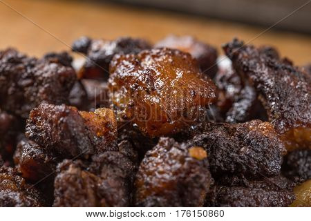 Close up of Romanian food called jumeri or greaves