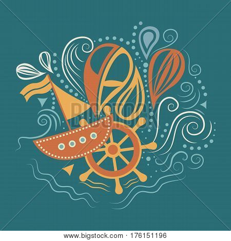 Vector illustration of sea life with boat, helm and waves. Underwater world. The journey by sea. Template for background, print, banner, logo, label, tag, fabric, packaging Flat design