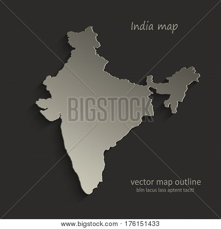 India map outline card blank black vector
