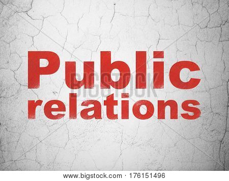 Advertising concept: Red Public Relations on textured concrete wall background