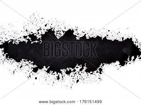 Black long sprayed line. Grunge abstract background. Raster illustration
