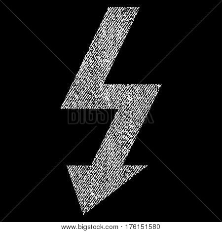 High Voltage vector textured icon for overlay watermark stamps. Fabric white vectorized texture. Symbol with unclean design. Rubber seal stamp with fiber textile structure.