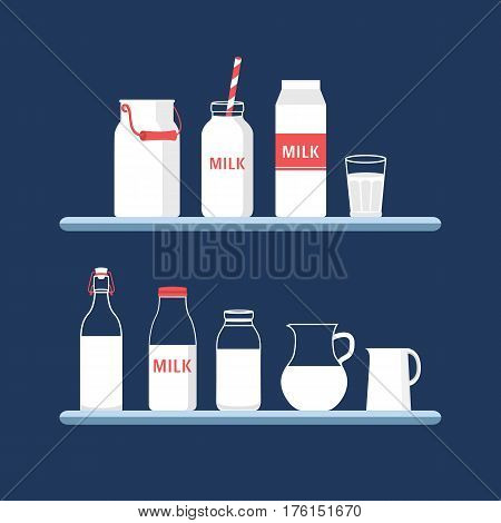 Set of packaging for milk. Collection milk containers box, bottle, jug, can, glass. Vector illustration of a dairy shop. Flat icons.