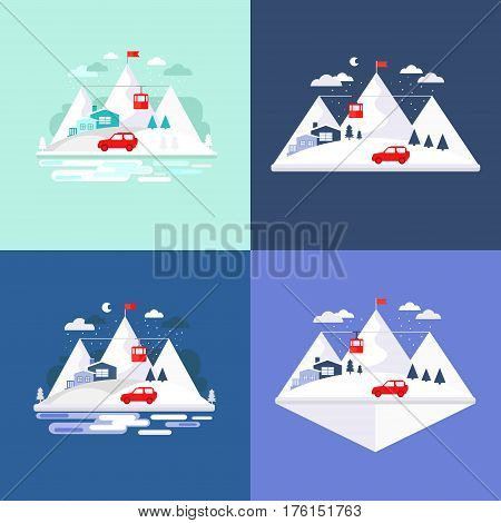 Mountain winter design concept background. Illustration vacation in the mountains. Collection of elements mountain, car, house, funicular railway, tree. Template for background, banner, card.