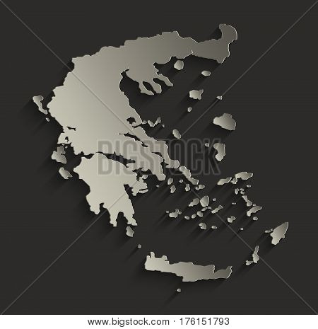 Greece map outline card blank black raster