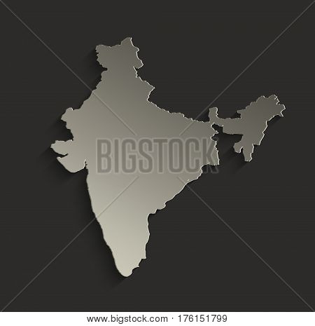 India map outline card blank black raster